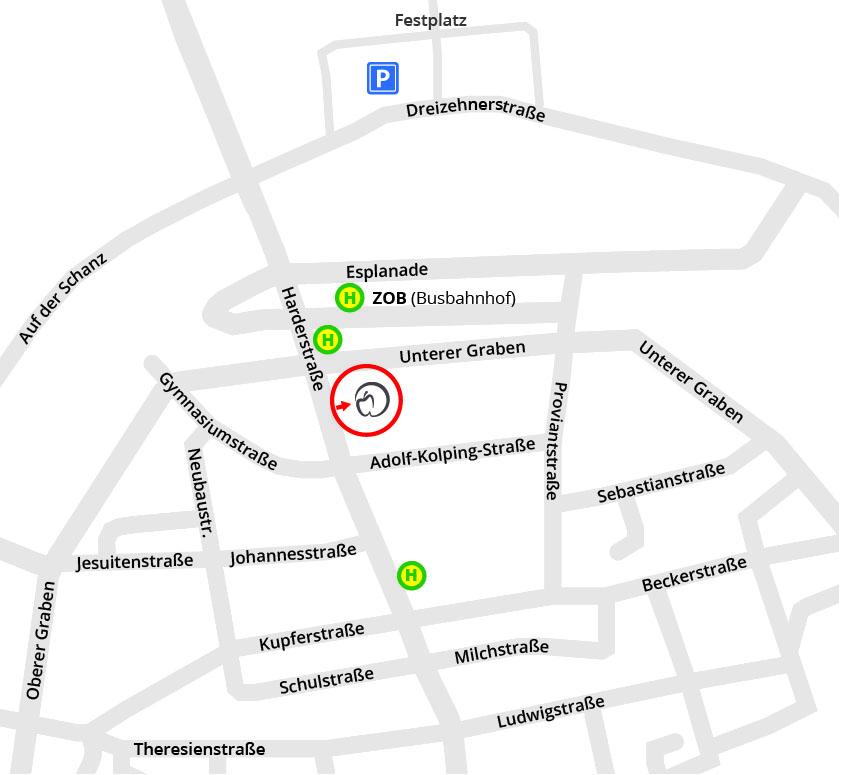 Umgebungsplan Zahnärzte im Hahnenhof mit Bus-Haltestellen